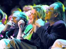 Dick Cavett; Wende Curtis, owner of a comedy club in Denver; and Robert Klein judge the Friday night finals of the comedy competition. (Kent Warneke, Norfolk Daily News)