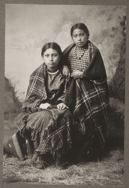 """Susie Nagle and Mary Walker"""" by an unidentified photographer, taken at the Fort Berthold Reservation, circa 1890, The Newberry Library, Chicago. Following the Lewis and Clark expedition, the number of American and Canadian fur traders traveling in the Indian Country grew, as did the population of mixed-heritage children. While accepted in Indian communities, these children were often scorned by whites."""