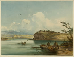 """""""Mandan Village"""" by Karl Bodmer from Prince Maximilian of Wied's """"Travels to the Interior of North America, 1843–1844,"""" The Newberry Library, Chicago. This view of a Mandan village was executed in 1833, a generation after Lewis and Clark visited the upper Missouri River, but it captures a scene that closely matches the explorers' descriptions."""