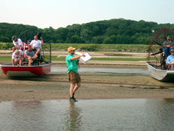 An LPRCA coordinator leads the annual airboat tour of the lower Platte River. (Anna Stambaugh, LPSNRD)