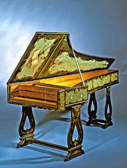 Grand piano by Manuel Antunes, Lisbon, 1767, with Cristofori action. One of the earliest, best-preserved pianos known to survive. (Bill Willroth Sr.)