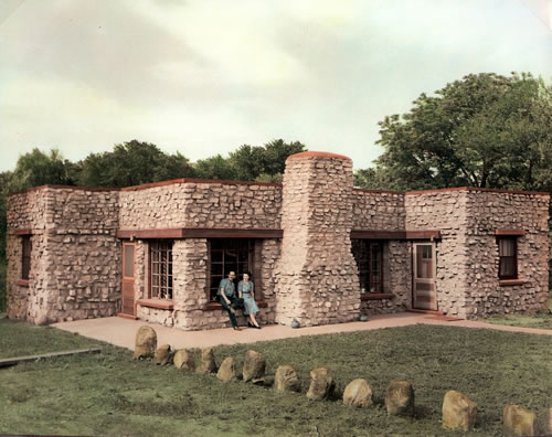 Floyd F. and Stella Nichols' home in David City, Neb., built in 1949 of discarded concrete paving. (Bone Creek Museum of Agrarian Art)