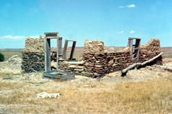 This sod house on a dryland farm in Eastern Wyoming, circa 1920, is still partly standing, showing the resiliency of the sod, but the cropping failed in a few years. (Provided by John Kimble)