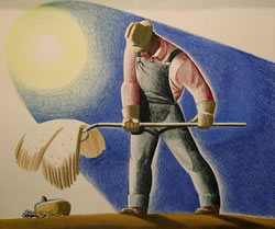 "Dale Nichols, ""The Harvester,"" 1935, oil, pastel and pencil on illustration board, 17 ½ × 21 ½, (D. Wigmore Fine Art)"