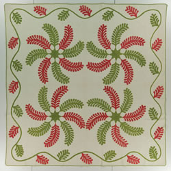 """Princess Feather,"" made by Rebecca Gouffin Wilson (1829–1899) and Isabella Irene Wilson Rhodes (1850–1929), North English, Iowa, c. 1865, Cotton, 85 × 85 inches, Byron and Sara Rhodes Dillow Collection. (International Quilt Study Center & Museum)"