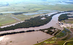 Floodwaters around the Cooper Nuclear Power Plant on June 15. (U.S. Army Corps of Engineers)