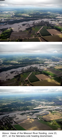 Views of the Missouri River flooding, June 23, 2011, on the Nebraska side heading downstream.