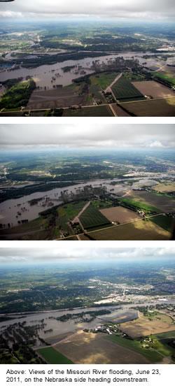 Views of the Missouri River flooding, June 23, 2011, on the Nebraska side heading downstream.