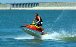 Jet skiing is popular at Alma's Harlan County Lake, one of Nebraska's largest recreation reservoirs. (R. Neibel, Nebraska DED)