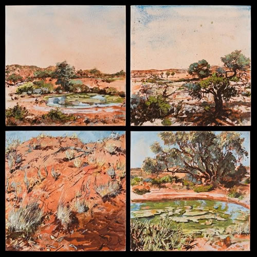 """Ethabuka Spring,"" one of 12 4' × 4' landscape studies of the Channel Country in Australia's Outback. (Mandy Martin)"
