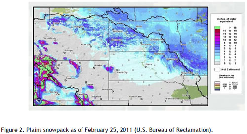 Figure 2. Plains snowpack as of February 25, 2011 (U.S. Bureau of Reclamation).