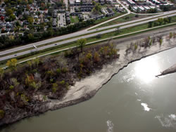 The Council Bend chute of the Missouri River, a shallow-water wildlife habitat built along the Council Bluffs side of the river, on Oct. 24, 2011. (Army Corps of Engineers)