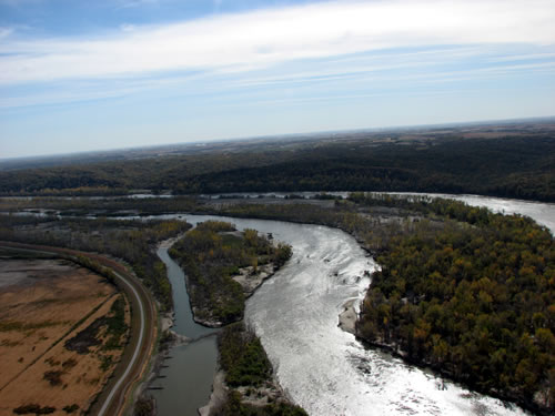 Deroin Bend on the Missouri River near Indian Cave State Park, Oct. 24, 2011. (Army Corps of Engineers)