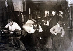 A group of sweatshop workers in New York City, Feb. 21, 1908, LC-DIG-nclc-04454 (color digital file from B&W original print). (Prints and Photographs Division, Library of Congress)
