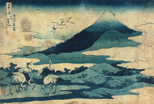 "Cranes have been represented in art throughout history. ""Sōshū umezawa zai"" (Umezawa manor in Sōshū), Hokusai Katsushika, artist, woodcut, 1832 or 1833, LC-DIG-jpd-00414 (digital file from original print). (Prints and Photographs Division, Library of Congress)"