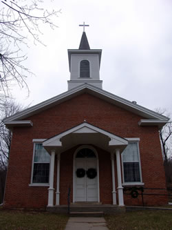 The Brownville Methodist Church (1861), located on Water Street in Brownville, is a fine example of academic Greek Revival architecture. (Nora Tallmon)