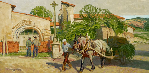"Robert Lougheed, ""In the Village of Chanonat,"" 1980, oil on canvas, 12 x 24. (Lougheed Studio at Claggett Rey Gallery)"