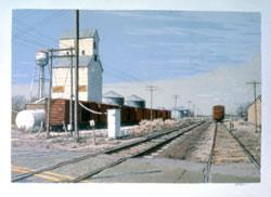 """""""Fall Crossing,"""" serigraph, 27 x 35, 1983 (Tom Bartek)"""