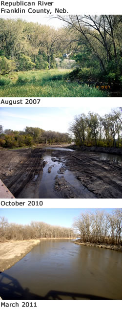 Before and after pictures of the Republican River in Franklin County, Neb. (Twin Valley Weed Management)