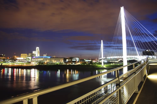 Omaha skyline along the banks of the Missouri River. (DenisTangneyJr/iStockPhoto)