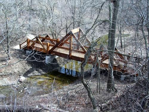 This bridge at Arbor Day Farm crosses South Table Creek. (Laurence L. Falk, Ph.D.)