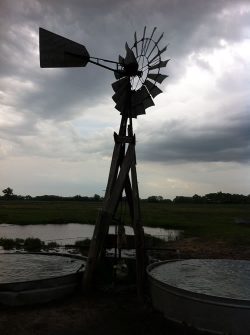 Storm clouds frame one of the 40-plus windmills on the Luebbe ranch that draw drinking water for cattle from a few feet beneath the surface. (Greg Rohde)
