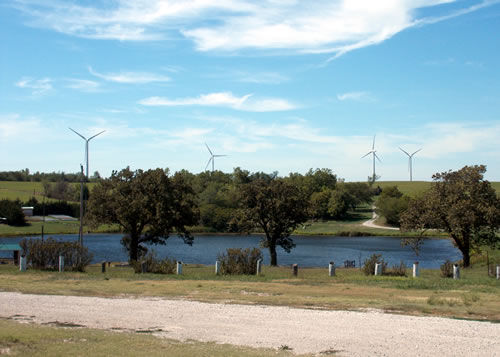 A September 2012 view of nearby wind turbines and lake at the Boy Scout's Camp Cornhusker near the Kansas-Nebraska line in southwest Richardson County, Neb. (Richard Sutton)