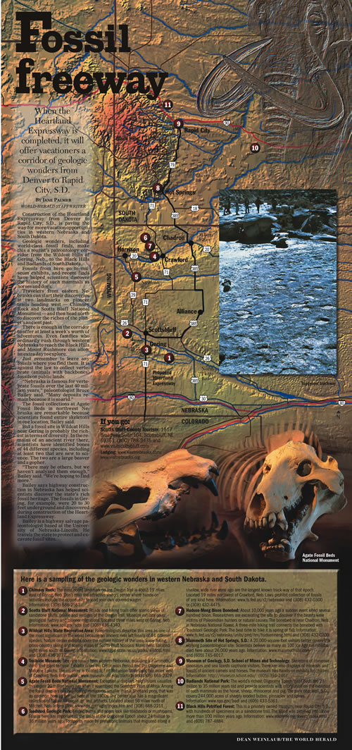 Nebraska state Senator John Harms used this poster, designed by the Omaha World-Herald, to support his request to the Unicameral Appropriation Committee to set aside $165,000 for the initial architectural plan to construct the addition to the Wildcat Hills Nature Center. (Ray Boice)