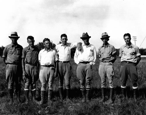South Party group, from left to right: Bert Schultz, Mylan Stout, Emery Blue, Robert Long, Loren Eiseley, Eugene Vanderpool, and Frank Crabill. (University of Pennsylvania Archives)