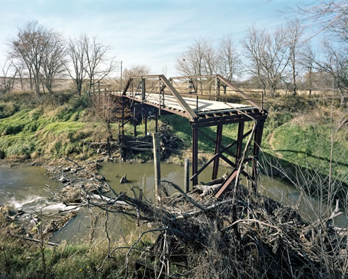 Washed out Pony Truss Bridge over Fox Creek at County Road 50 south of J Road, Otoe County. (Michael Farrell)