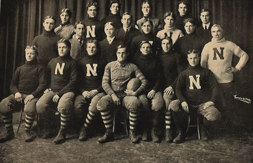 The 1902  Nebraska Cornhuskers football team from the 1903 University of Nebraska yearbook. (Public domain/Wikimedia Commons)
