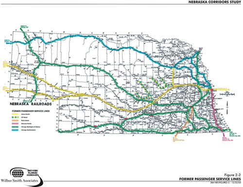 """Fig. 3: Example of Nebraska's previous passenger train routes from 1940s–1960. (Wilbur Smith Associates and HWS Consulting Group, """"Nebraska Transit Corridors Study,"""" 2003, 384180\FIGURE 2-2 - 12/22/03)"""