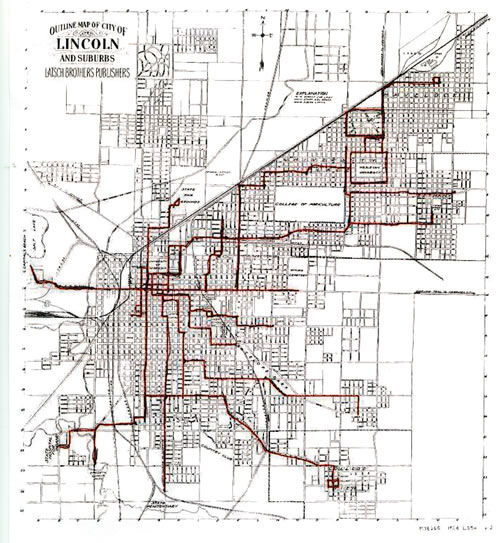 Fig. 1. Example of Lincoln streetcar routes in 1880–1916. Monocentric city noted in yellow circle. (Map provided by Ed Zimmer, Lincoln historic preservation planner for the City of Lincoln Planning Department, personal interview, March 1, 2013)