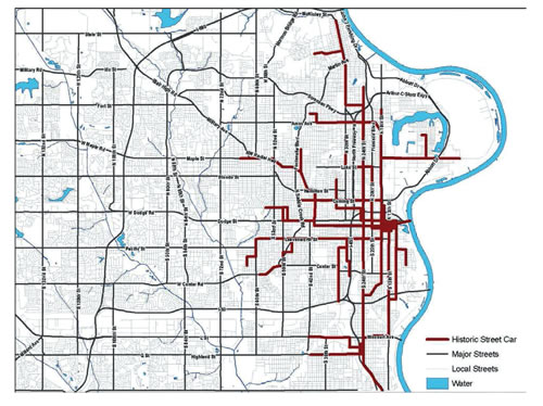 Fig. 2. Example of Omaha streetcar routes in 1880–1955. Monocentric city noted in yellow circle. (MAPA 2035, p. 109)