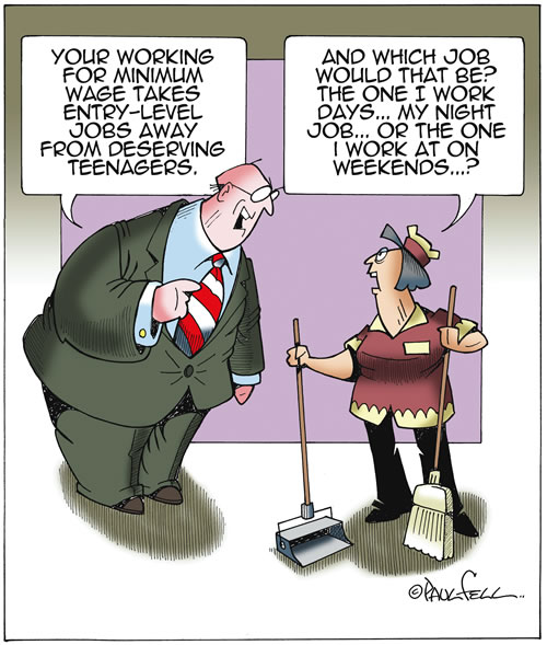 Minimum wage toon by Paul Fell